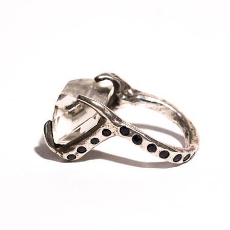 Unearthen Jewelry Lyrae Ring - Quartz/Sapphire/Silver