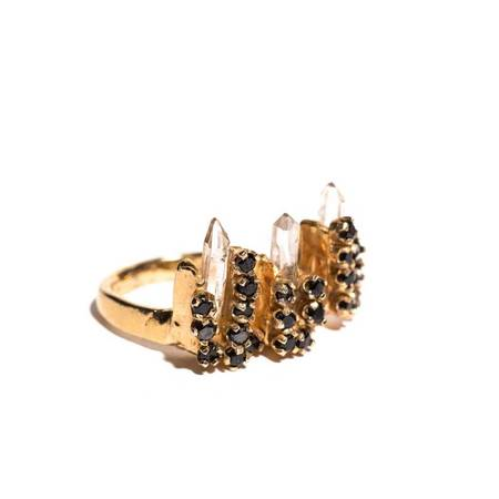 Unearthen Jewelry Tristara Ring - Quartz/Black Spinel/Gold