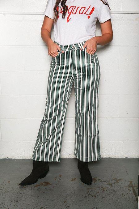 Alexa Chung Wide Leg Cropped Jean - Stripe Print Green