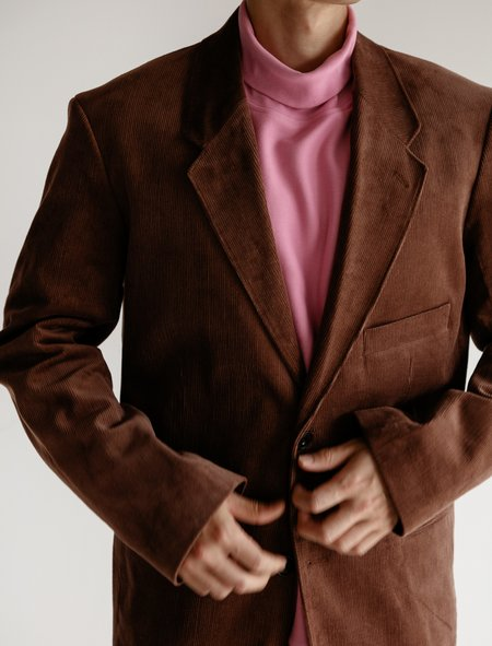 Lemaire Single-Breasted Jacket - Corduroy Brown