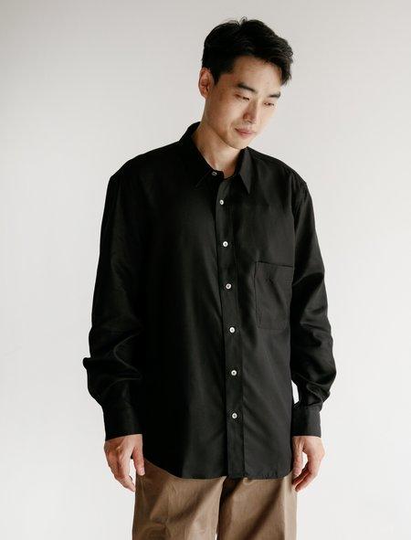 Lemaire Straight Collar Tencel  Shirt - Black