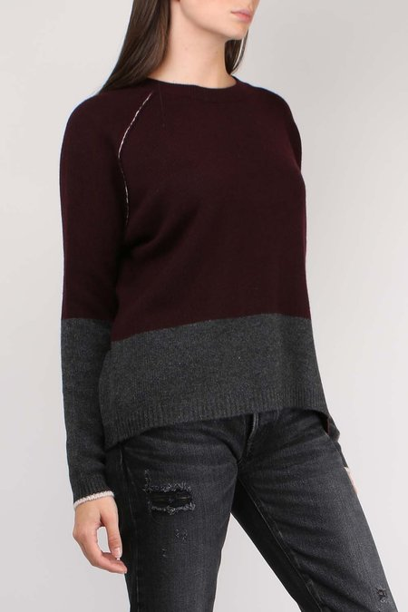 Paychi Guh Block Crew SWEATER - Currant/Charcoal