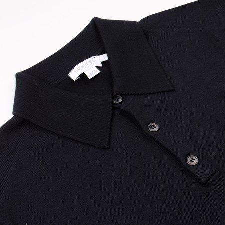 Sunspel Long Sleeve Merino Polo - Black