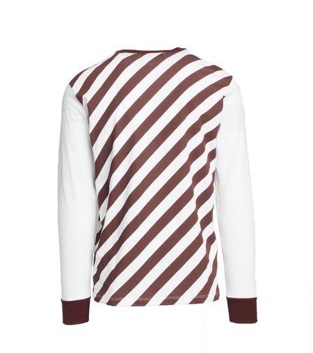 Freemans Sporting Club Long Sleeve T-Shirt - White/Burgundy Stripe