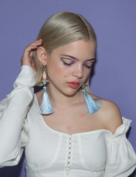 SJO Jewelry Daisy Tassel Earrings - Blue