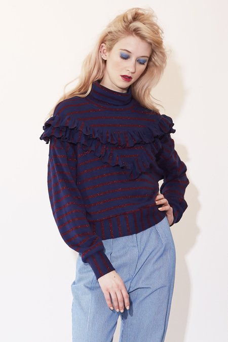 Kurt Lyle Monica Top - Navy/Burgundy