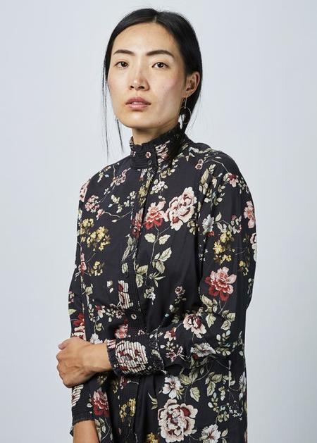 Hannes Roether Cattun Offset Collar Blouse - Black/Floral