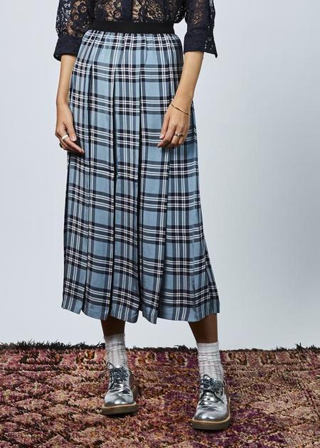 Sara Lanzi Pleated Check Skirt - dusty blue