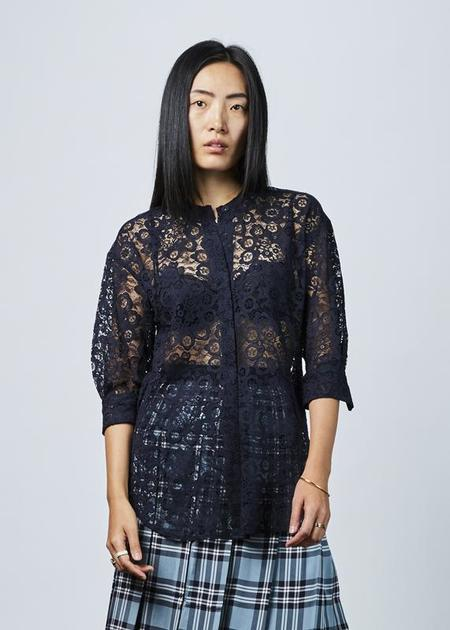 Sara Lanzi 3/4 Sleeve Lace Shirt - navy
