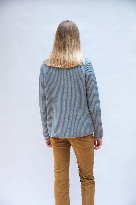 Allude Ribbed Knit Sweater - Aqua