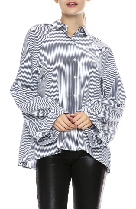 Nili Lotan Leah Stripe Shirt - White/Blue Stripe