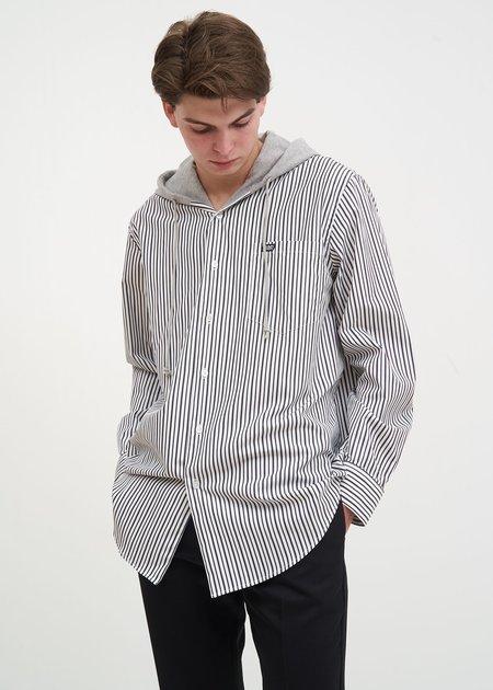 CMMN SWDN Stripe Riley Hooded Shirt - White