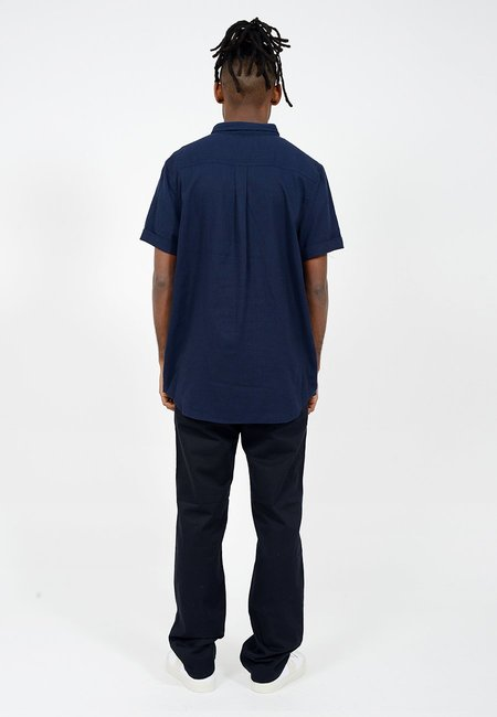Rollas Men At Work Short Sleeve Shirt - navy linen
