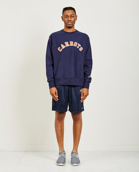 CARROTS BY ANWAR CARROTS COLLEGIATE TACKLE TWILL CREWNECK - NAVY
