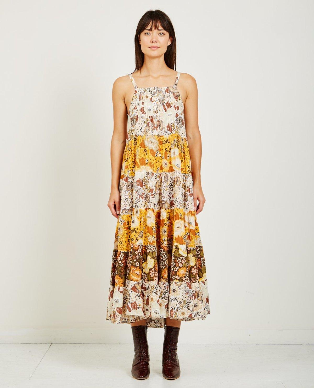 f1684d0e131 SPELL   THE GYPSY DESERT DAISY MAXI SUN DRESS - MUSTARD