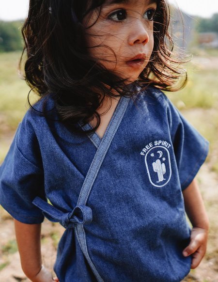 Kids Kiboro Embroidered Free Spirit One-Piece Kimono - Dark Denim