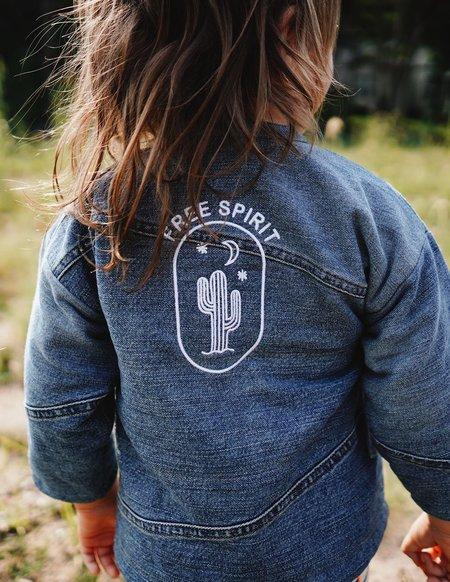 Kids Kiboro Embroidered w/ Free Spirit Quilted Kimono Jacket - Dark Denim