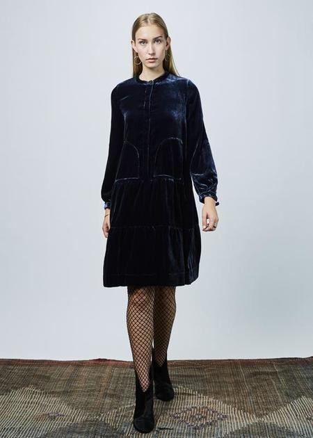 Hannes Roether Town Velvet Dress - navy
