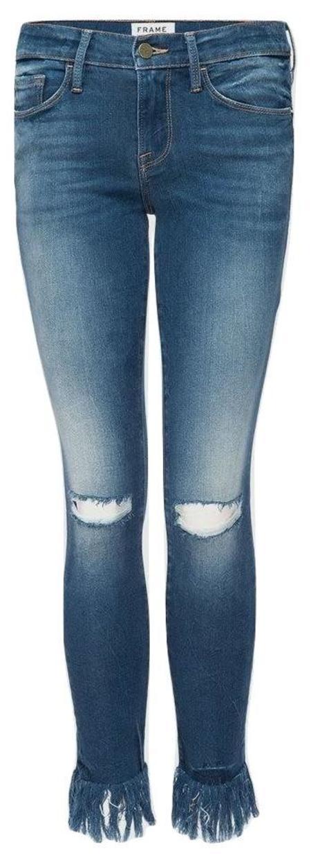 FRAME Denim Le Skinny Shredded Raw Denim Jeans - Lambeth