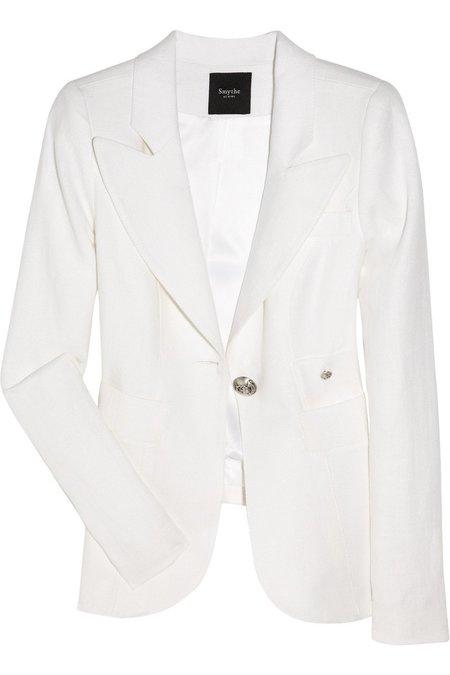 Smythe Box Pleat Blazer - White