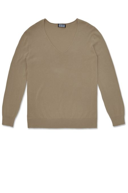 Standard Issue Cotton V Slouchy Top - Linseed