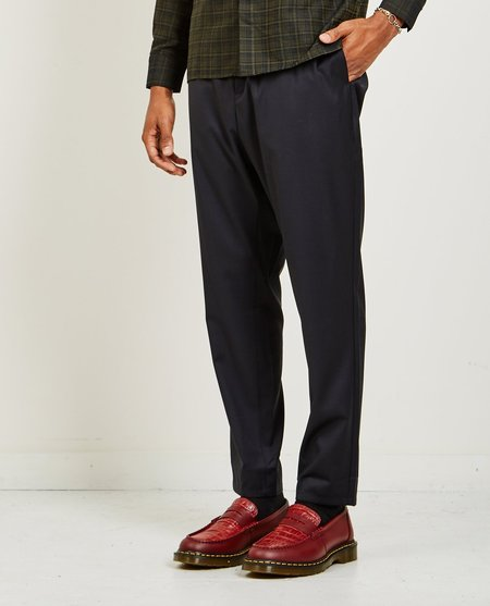 A Kind of Guise ELASTICATED WIDE WOOL TROUSERS - MIDNIGHT