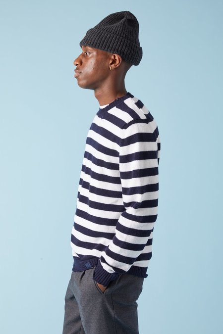 Paul Shark Distressed Knit Stripe Sweater - Navy/White