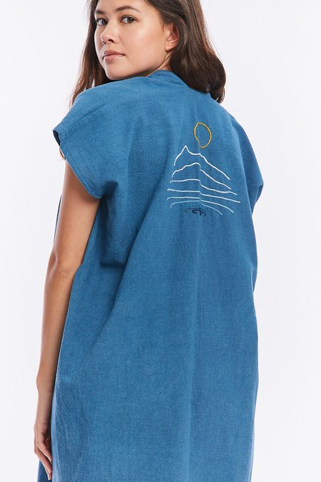 Miranda Bennett x Ft. Lonesome Textured Cotton Everyday Dress - Indigo