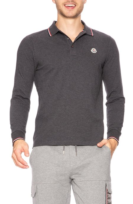 Moncler Long Sleeve Polo with Tipping Detail