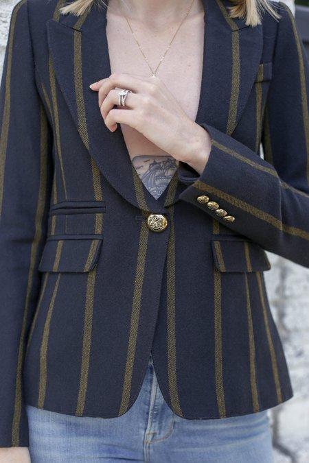Smythe Peaked Lapel Blazer - Black/Mustard Stripe