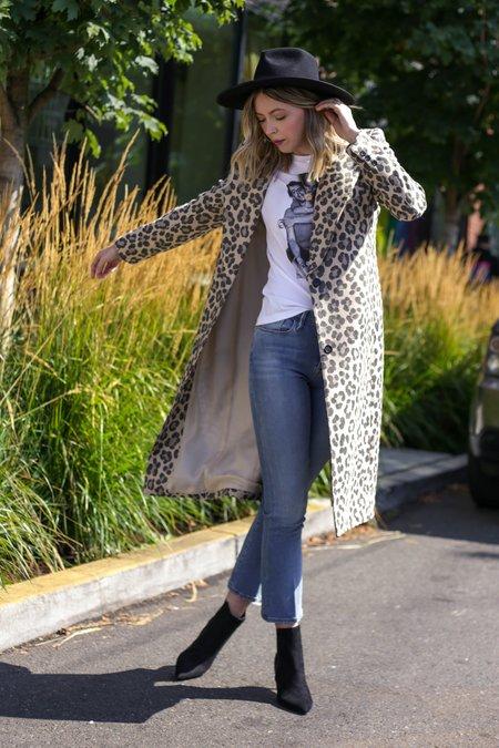 Smythe Peaked Lapel Coat - Buff Leopard