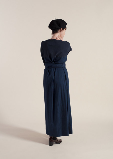Sunja Link Maxi Mixed Dress w/ obi belt - Indigo