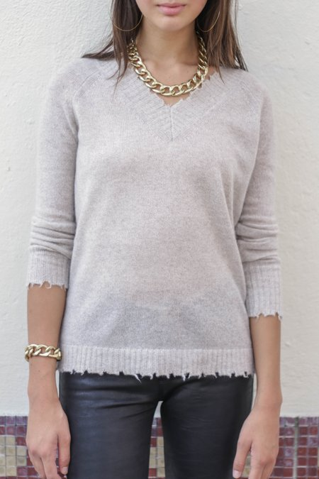 Minnie Rose Frayed Edge Double V Pullover Sweater - Ecru