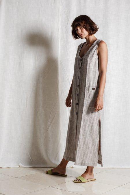 at Dawn. Organic Hemp Cotton Tank Dress - Brown Stripe