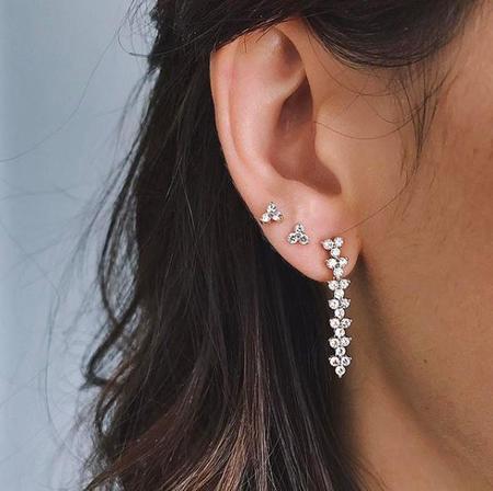 EF Collection Diamond Trio Stud Earring - 14K Gold