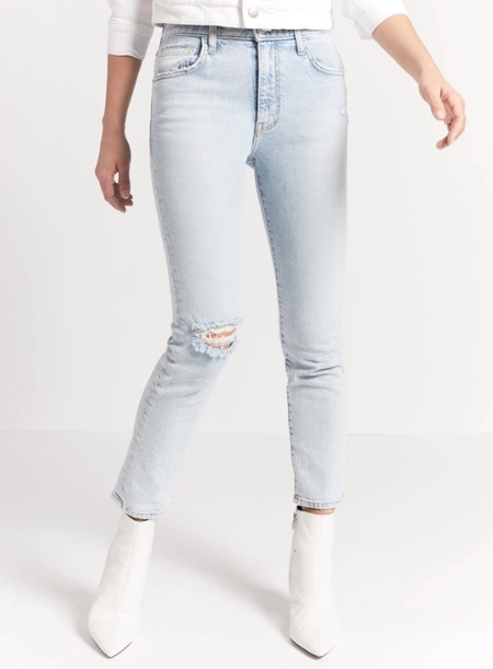 Current Elliott Vintage Cropped Slim Jean - Century Destroy