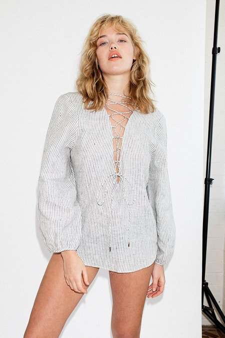 Third Form Draw In Linen Blouse - Stripe