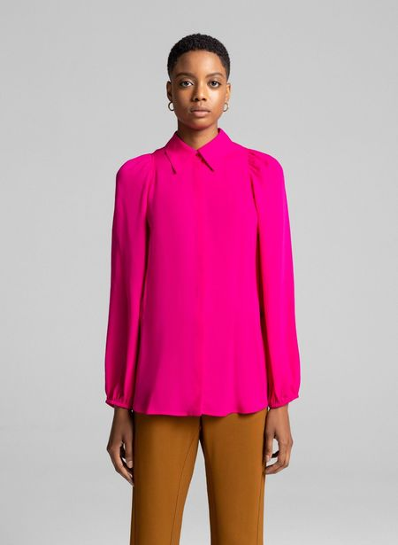 A.L.C. Lori Silk Blouse with Balloon Sleeve