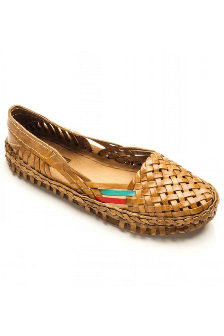 Mohinders Woven Leather Flats - BROWN