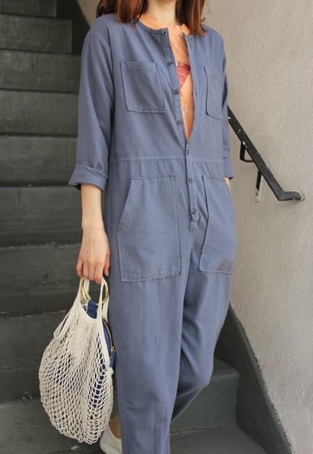NICO NICO FLANNEL JUMPSUIT - GRAY