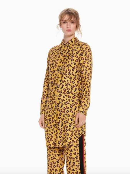 Maison Scotch Leopard Shirt Dress - Mustard/Leopard