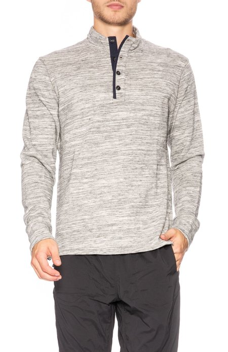Relwen Melange Mock Neck Pullover - Light Grey