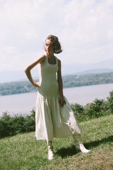 BEVZA Eco Leather Dress - Ivory