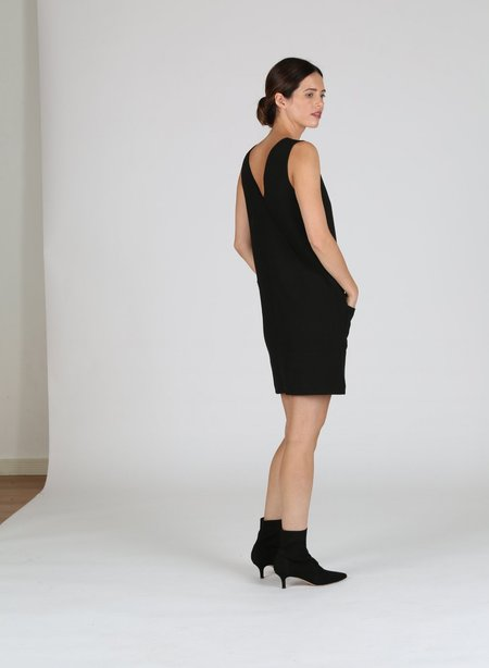 Acoté V-Neck Dress - BLACK