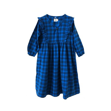 KIDS nico nico Mazzy Ruffle Dress - Blue Plaid