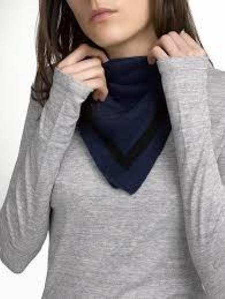 White + Warren Tipped Neck Scarf - Admiral/Black