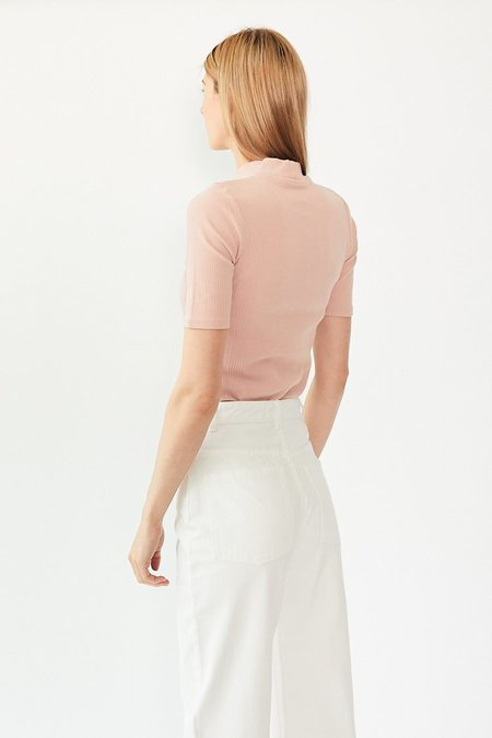 Kowtow Building Block Rib Fitted Top - Rose