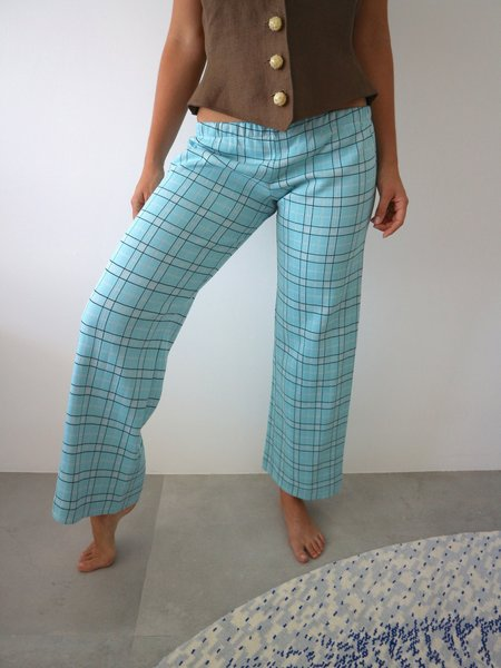 Vintage HOH Curate 1970's Flares - Sky Blue Plaid