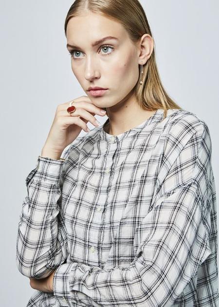 NICO Skoll Drop-Shoulder Blouse - White/Black Check