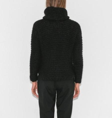 Apiece Apart Artisanal Cropped Crew Sweater - Black